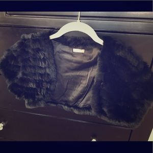 Ann Taylor black fur shrug
